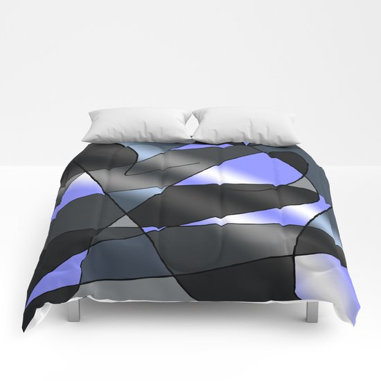 ABSTRACT CURVES #2 (Greys & Light Blue) Comforters
