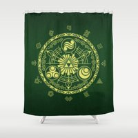 triforce Shower Curtains featuring Zelda Triforce  by DavinciArt