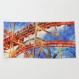 Fun on the roller coaster, close up Beach Towel