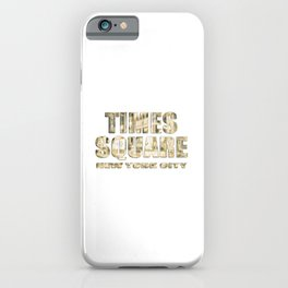 Times Square New York City (golden glow on white) iPhone Case