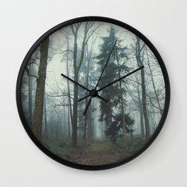 Misty Woods II #adventure #photography Wall Clock