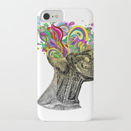 Bright neon pink yellow abstract anatomical skull iPhone Case