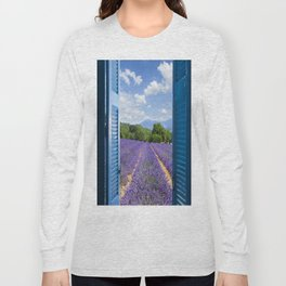 wooden shutters, lavender field Long Sleeve T-shirt
