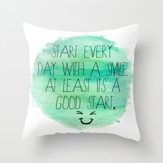 Start With a Smile Throw Pillow