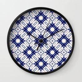 Watercolor Shibori Blue Wall Clock