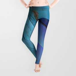Blue Macaw Feathers Leggings