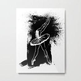 Ballerina Doing a Backbend on a Black Background Metal Print