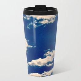 Blue and White Metal Travel Mug