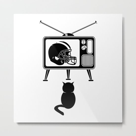 Cat Watching American Football Metal Print