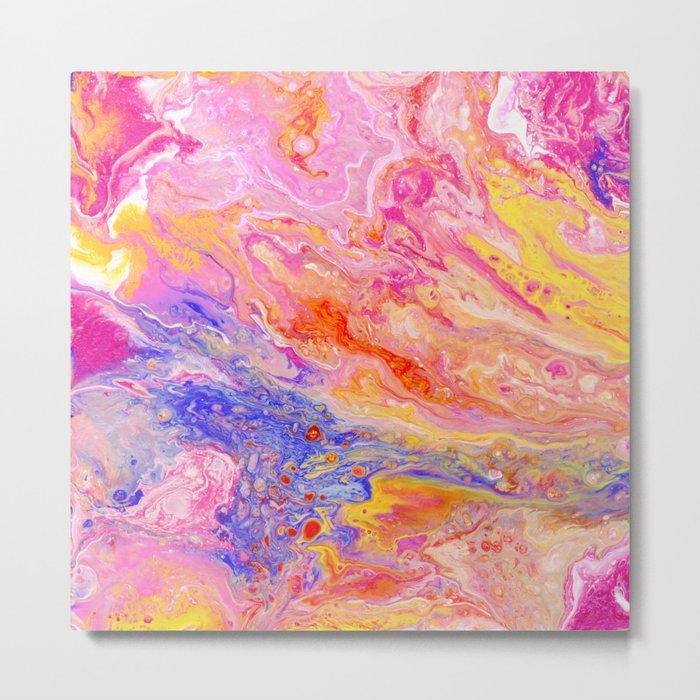 Pink and Yellow Abstract Metal Print