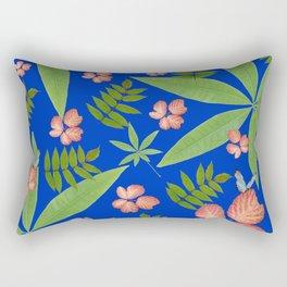 Leaves on Blue Rectangular Pillow