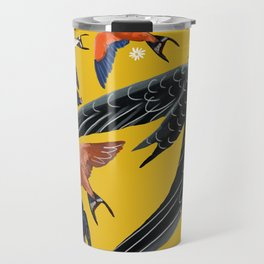 Swallows and swift pattern in yellow Travel Mug