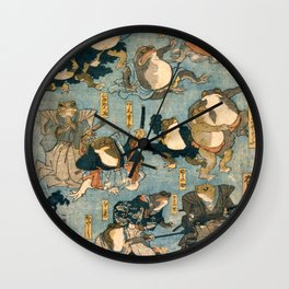 Ichiyusai Kuniyoshi Famous Heroes of the Kabuki Stage as Frogs Wall Clock