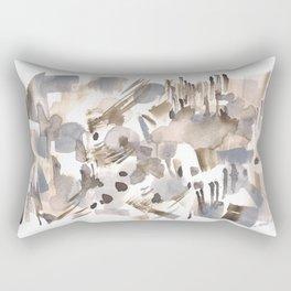 180630 Grey Black Abstract Watercolour Neutral 24 | Watercolor Brush Strokes Rectangular Pillow