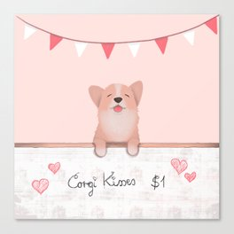 Corgi Kisses Canvas Print