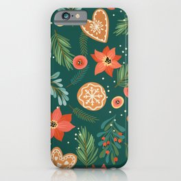 christmas seamless pattern with gingerbread iPhone Case