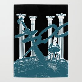 300 Blue and Black Poster