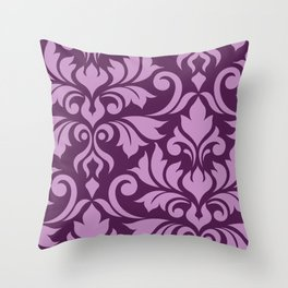 Flourish Damask Art I Pink on Plum Throw Pillow