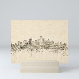 Seattle Washington Skyline Sheet Music Cityscape Mini Art Print