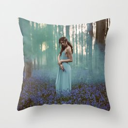 Girl in forest 2 Throw Pillow