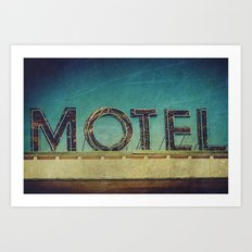 Grunge Motel Sign Art Print