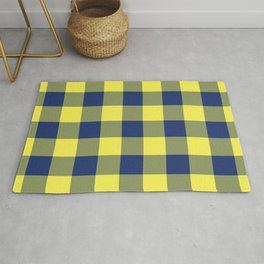 Navy Yellow Gingham Pattern Rug