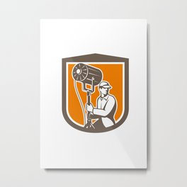 Electrical Lighting Technician With Spotlight Shield Metal Print