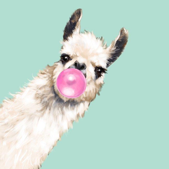 Bubble Gum Sneaky Llama in Green Comforters