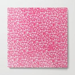 Vintage Flowers Pink Metal Print