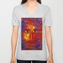 Conundrum III - Abstract Orange and Purple Goddess Unisex V-Neck