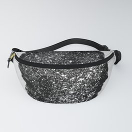 Agate with White Marble & Black Silver Glitter #1 #gem #decor #art #society6 Fanny Pack