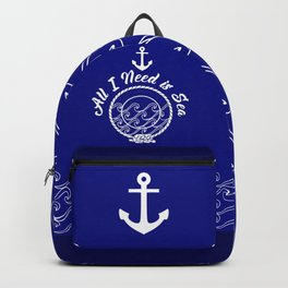All I Need is Sea - White on Blue Backpack