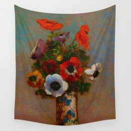 """Odilon Redon """"Les Anemones (Still Life with Anemones)"""", c. 1900-1910 Wall Tapestry"""