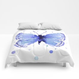 Dark Blue Butterfly Watercolor Comforters