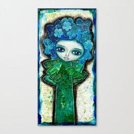 Mixed Media Flower Girl 3 Blue Canvas Print