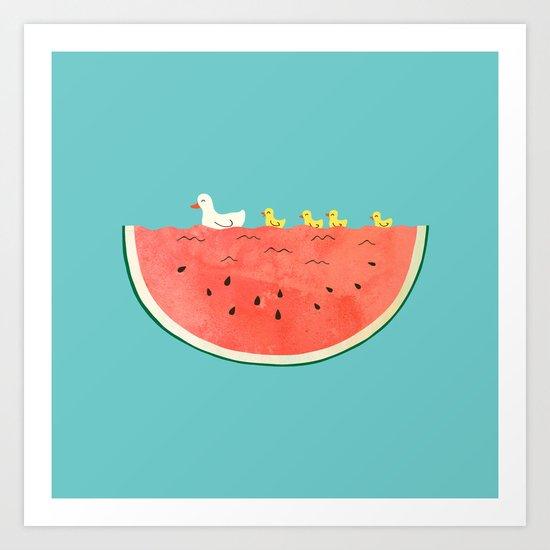 duckies and watermelon Art Print