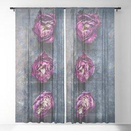 Three Rose Buds II Sheer Curtain