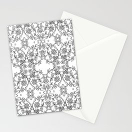coloring pattern with birds and flowers Stationery Cards