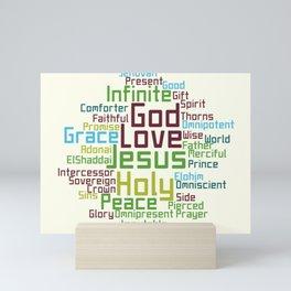 Names and Attributes of Jesus Word Cloud Mini Art Print