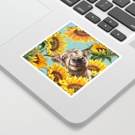 Highland Cow with Sunflowers in Blue Sticker