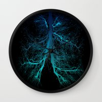 lungs Wall Clocks featuring Aqua Lungs by MUSENYO