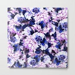 night and day flowers butterflies pattern blue purple Metal Print