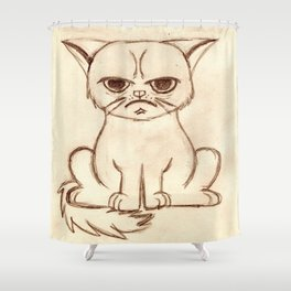 Keep Grumpy and Do Nothing - Cat drawning Shower Curtain