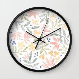 Colourful Floral Circle Wall Clock