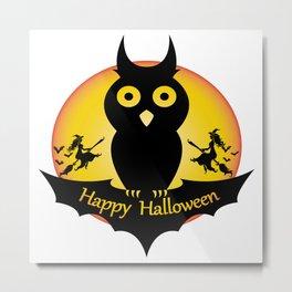 Happy Halloween - Funny Owl Metal Print