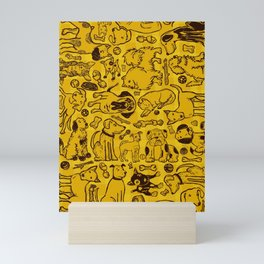 Pup Party in Mustard Gingham Mini Art Print