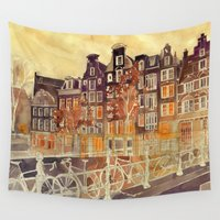 amsterdam Wall Tapestries featuring Amsterdam by takmaj