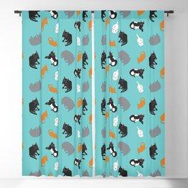 Kitty Cat Illustrated Repeat Pattern Illustration Blackout Curtain