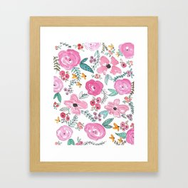 Pink Watercolor Floral Print  Framed Art Print
