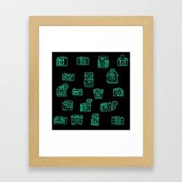 Cameras: Teal - pop art illustration Framed Art Print